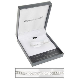 Diamante Bangle Silver Plated Half Leather Bracelet By Equilibrium Gift Boxed Thumbnail 1