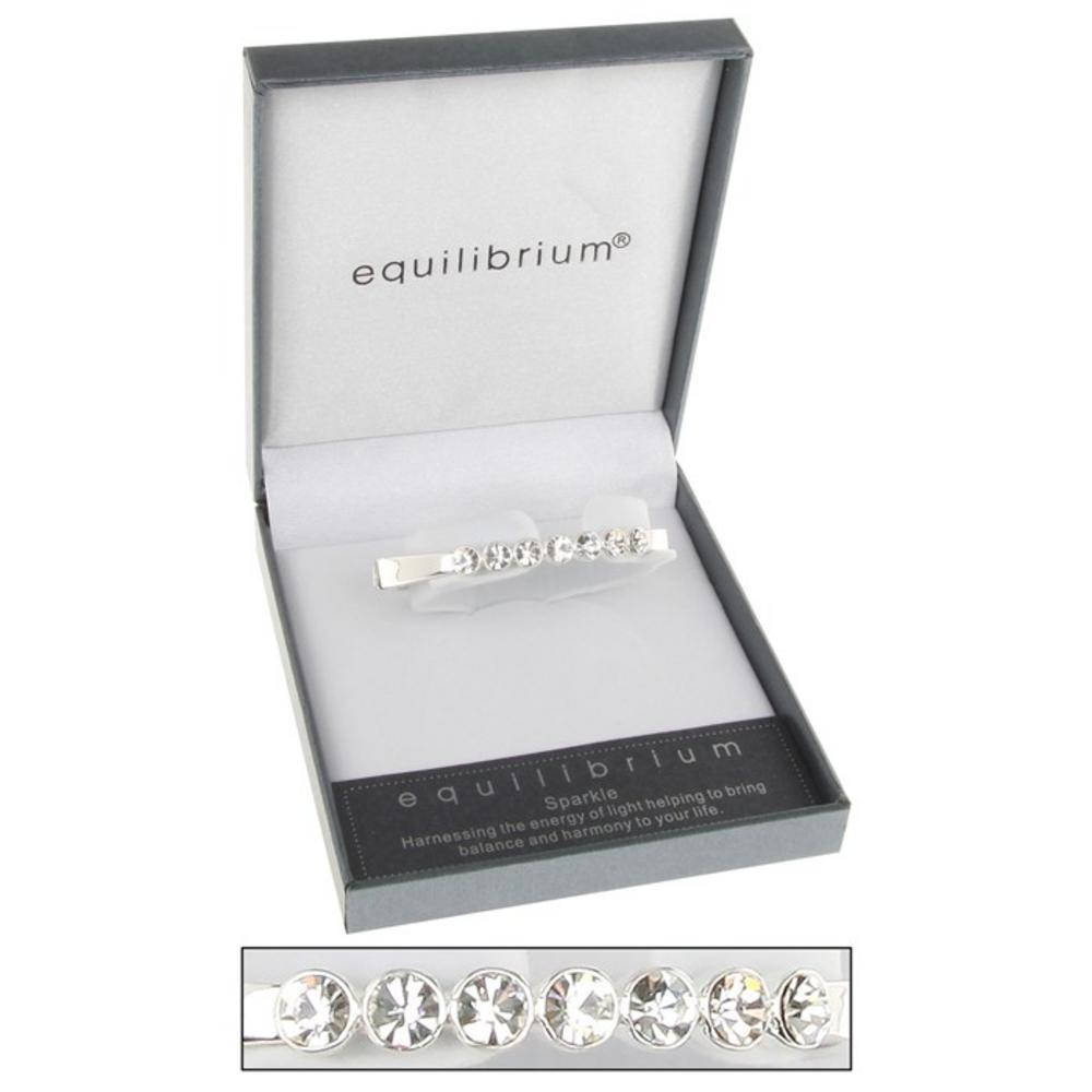 Silver Plated Seven Crystal Hinged Bangle Clear By Equilibrium Gift Boxed