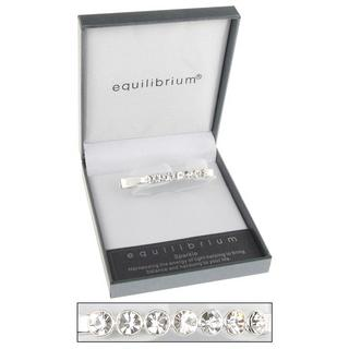 Silver Plated Seven Crystal Hinged Bangle Clear By Equilibrium Gift Boxed Thumbnail 1