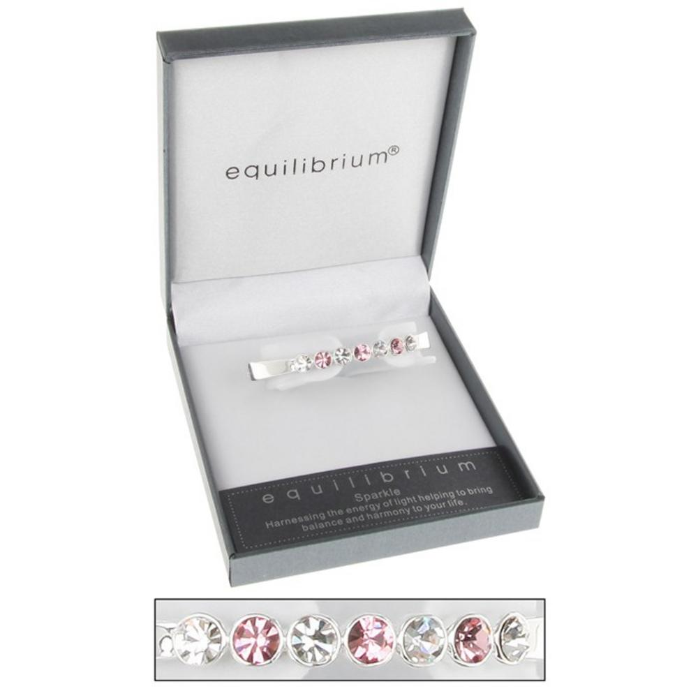 Silver Plated Seven Crystal Hinged Bangle Bracelet In Pink Gift Box Equilibrium