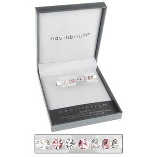 Silver Plated Seven Crystal Hinged Bangle Bracelet In Pink Gift Box Equilibrium Thumbnail 1