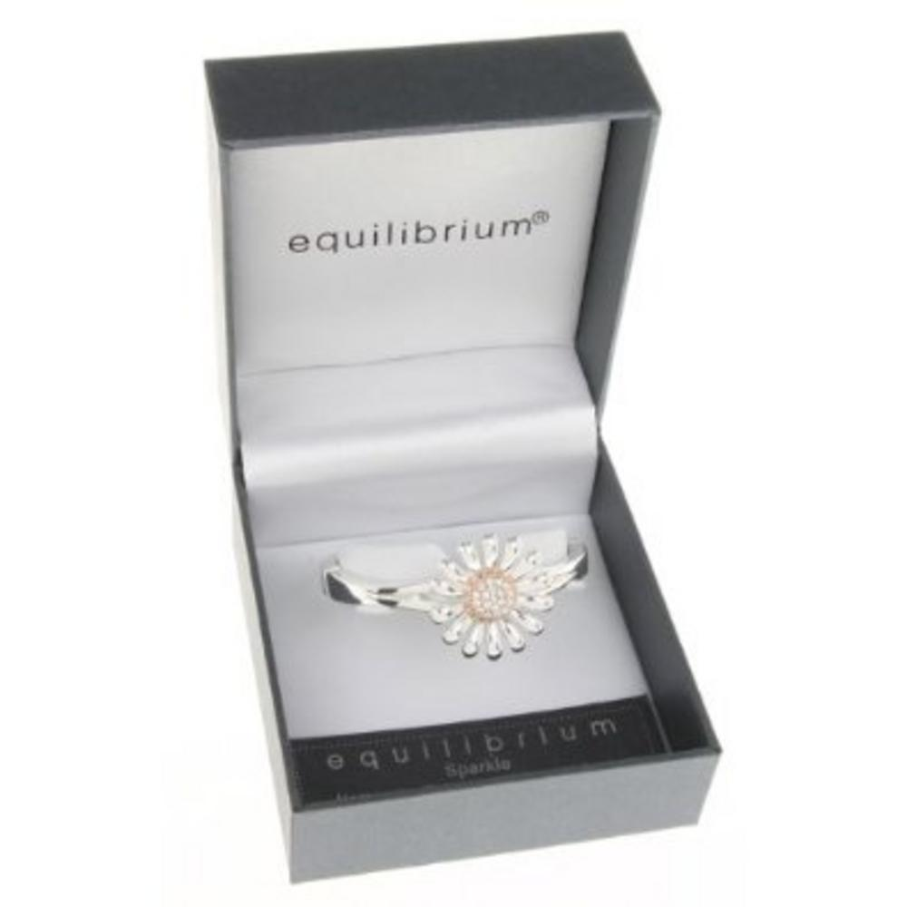 Equilibrium Silver Plated Daisy Bangle And Presentation Gift Box