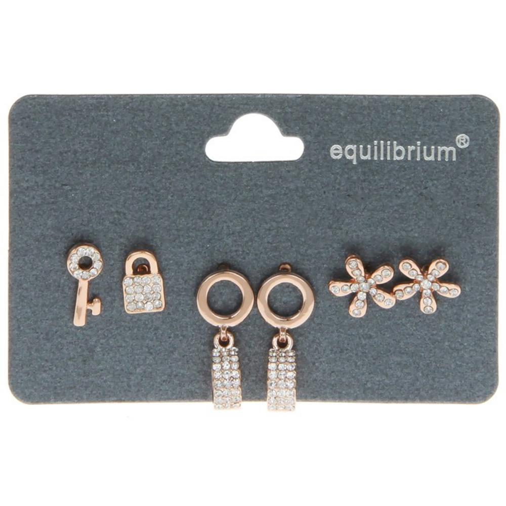 Three Pairs Of Earrings Ring Flower Lock By Equilibrium