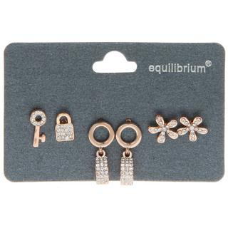 Three Pairs Of Earrings Ring Flower Lock By Equilibrium Thumbnail 1