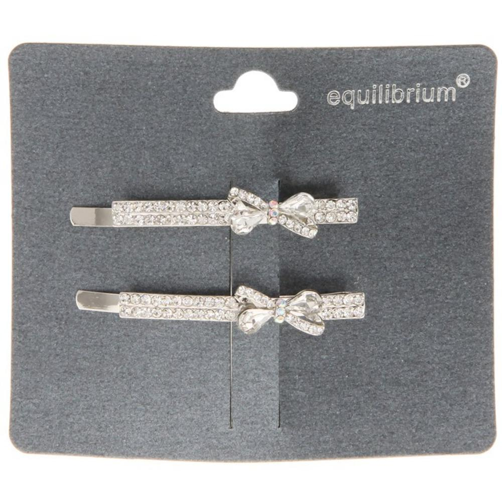 Equilibrium Diamante Hair Grips With Bow Set Of Two