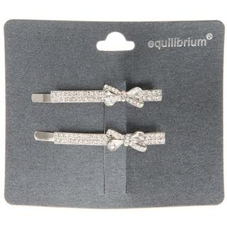 Equilibrium Diamante Hair Grips With Bow Set Of Two Thumbnail 1