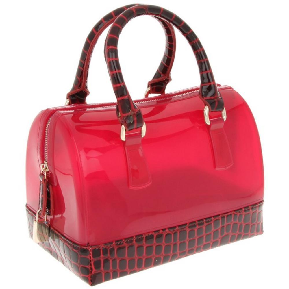 Ladies Equilibrium Burgandy Croc Barrel Hand Bag