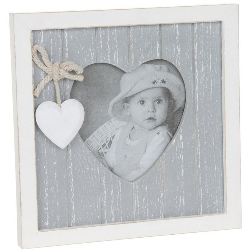 "Provence Grey Heart Picture Photo Frame 3"" X 3"" Shabby Chic"