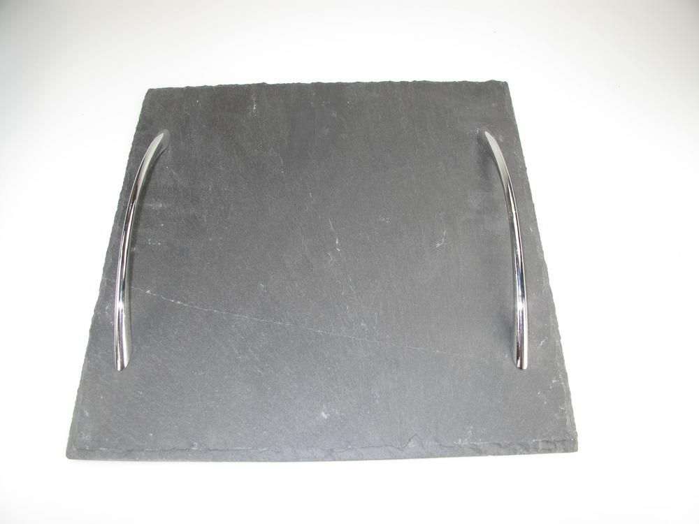 Stone The Crows Small Square Shaped Two Handeled Slate Serving Tray