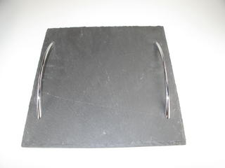 Stone The Crows Small Square Shaped Two Handeled Slate Serving Tray Thumbnail 1