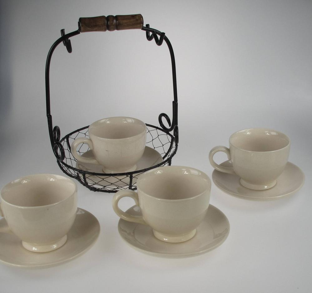 Stone The Crows Cup And Saucer Wire Set Vintage Design Set Of Four
