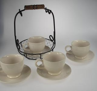 Stone The Crows Cup And Saucer Wire Set Vintage Design Set Of Four Thumbnail 1