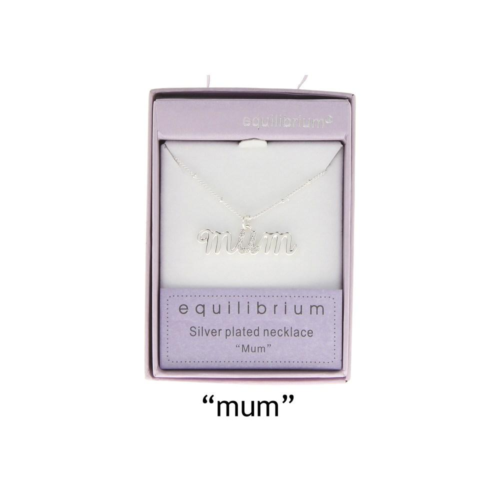 Equilibrium Silver Plated Mum Necklace - Gift Boxed