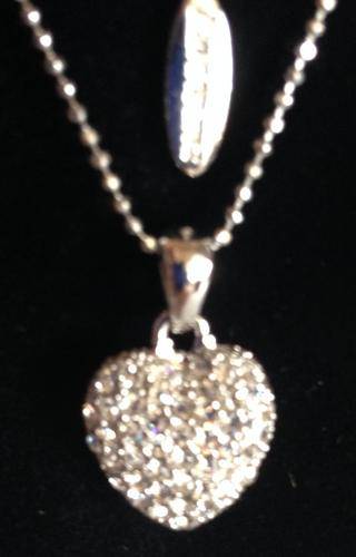 Ladies Clear Diamante Heart Design Necklace Thumbnail 2