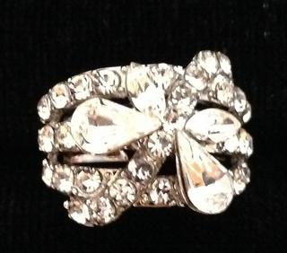 Ladies Clear Diamante Butterfly Crystal Adjustable Ring - Perfect Treat Or Gift Thumbnail 1