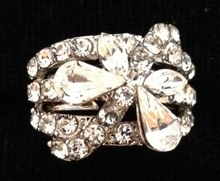 Ladies Clear Diamante Butterfly Crystal Adjustable Ring - Perfect Treat Or Gift Thumbnail 2