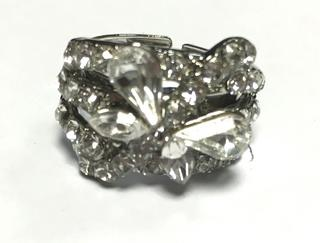 Ladies Clear Diamante Butterfly Crystal Adjustable Ring - Perfect Treat Or Gift Thumbnail 4