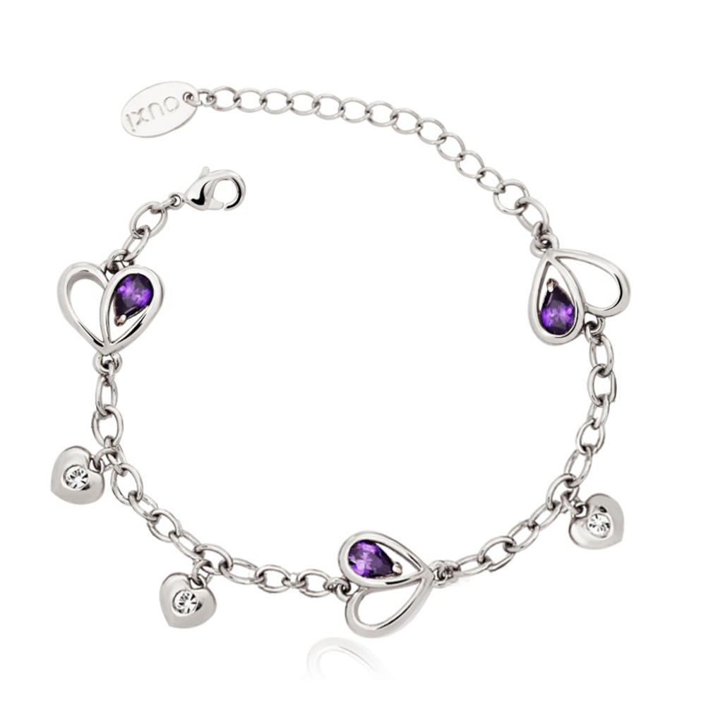Pure By Coppercraft Swarovski Purple Diamante Heart Bracelet  - Perfect Gift