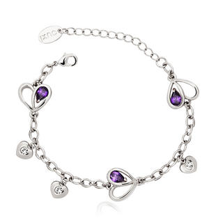 Pure By Coppercraft Swarovski Purple Diamante Heart Bracelet  - Perfect Gift Thumbnail 1