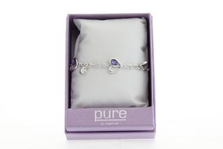 Pure By Coppercraft Swarovski Purple Diamante Heart Bracelet  - Perfect Gift Thumbnail 2