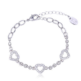 Pure By Coppercraft Swarovski Heart Diamante Bracelet  - Perfect Gift Thumbnail 1