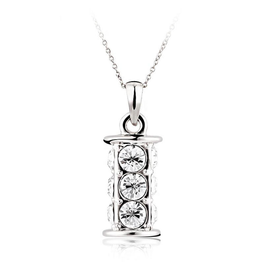 Pure By Coppercraft Swarovski Diamante Cylinder Pendant Necklace  - Perfect Gift