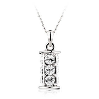Pure By Coppercraft Swarovski Diamante Cylinder Pendant Necklace  - Perfect Gift Thumbnail 1