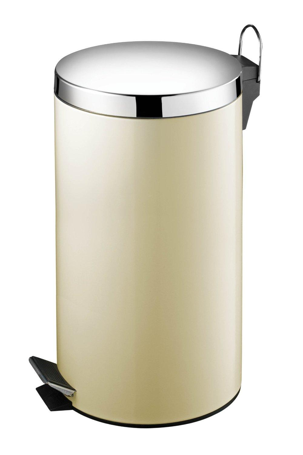 30L Cream Pedal Stainless Steel Bin Litre With Inner Plastic Bucket - W30 X H65