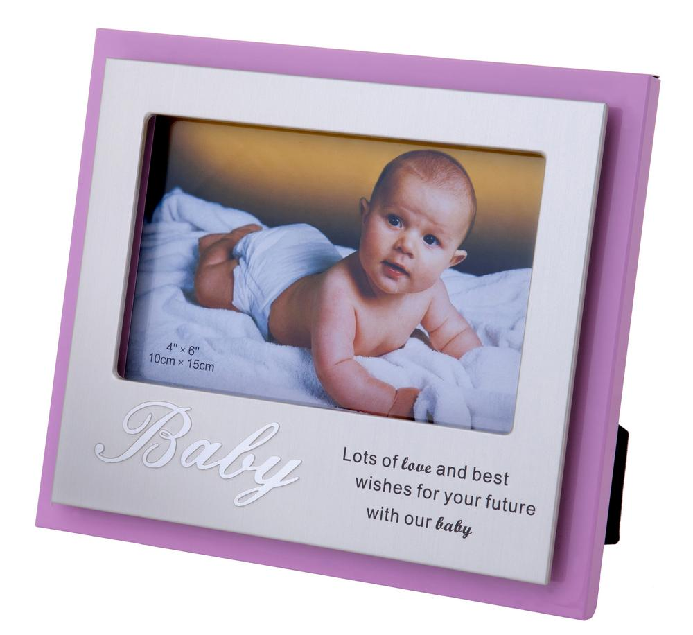 Lots Of Love And Best Wishes For Your Future With Our Baby Pink Girl Frame 6 X 4