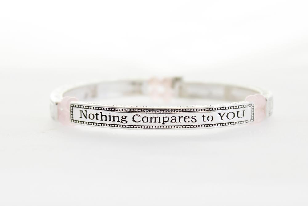 Pure By Coppercraft Sentiment Bracelet - Rose Quartz - Nothing Compares To You