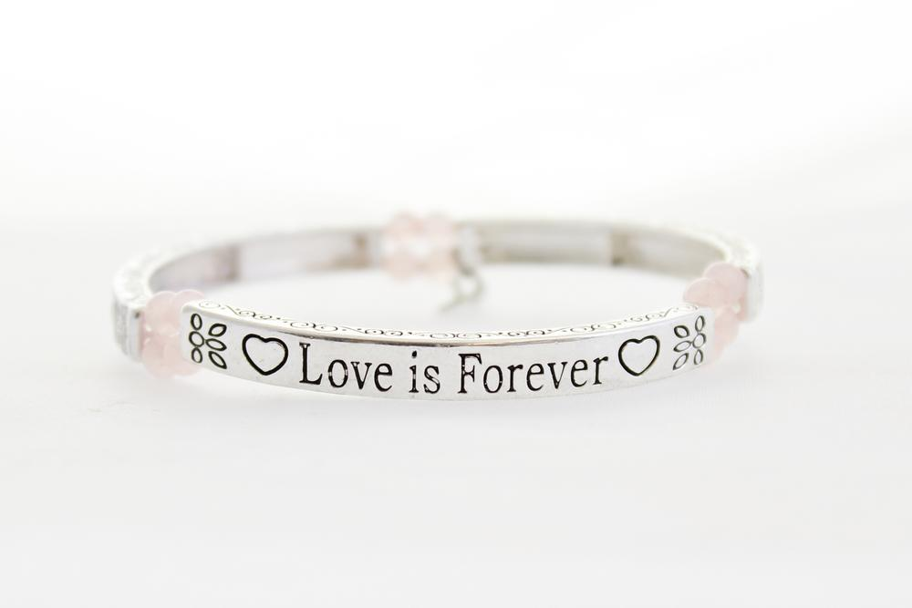 Pure By Coppercraft Sentiment Bracelet - Rose Quartz - Love Is Forever