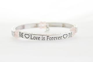Pure By Coppercraft Sentiment Bracelet - Rose Quartz - Love Is Forever Thumbnail 1