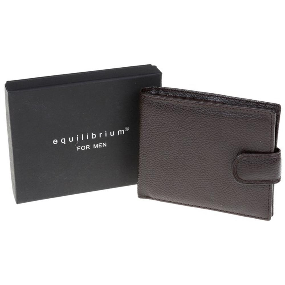 Gents Brown Wallet By Equilibrium With Gift Box Genuine Faux Leather Mens