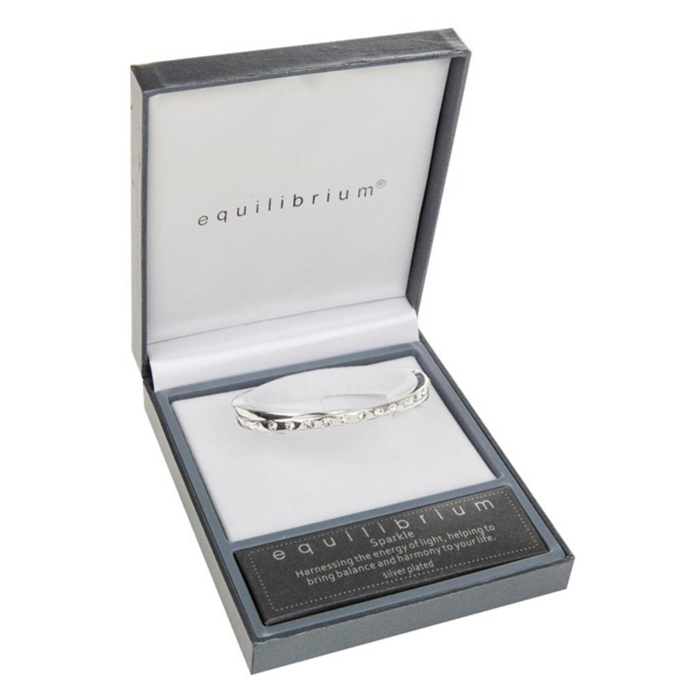 Cross Over Silver Plated Bangle Boxed By Equilibrium With Diamante Detailing