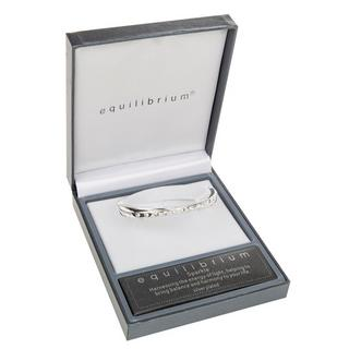 Cross Over Silver Plated Bangle Boxed By Equilibrium With Diamante Detailing Thumbnail 1