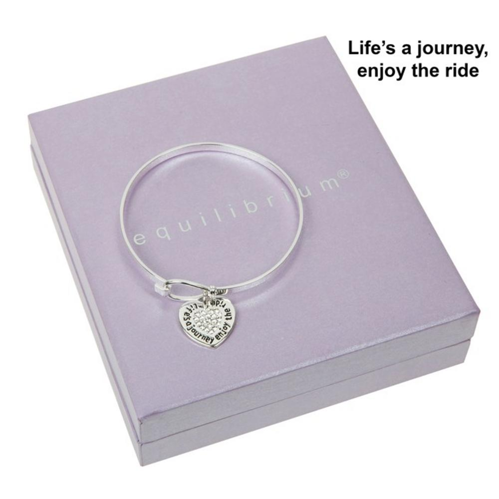 Lifes A Journey Enjoy The Ride Silver Plated Bangle Boxed By Equilibrium Bracele