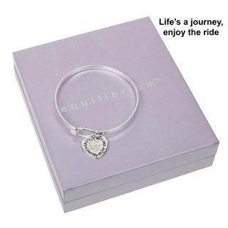 Lifes A Journey Enjoy The Ride Silver Plated Bangle Boxed By Equilibrium Bracele Thumbnail 1