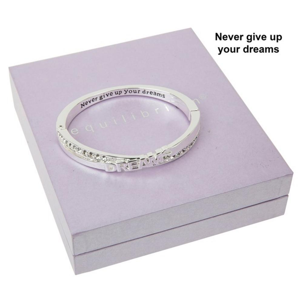 Never Give Up On Your Dreams Message Silver Plated Bangle Boxed By Equilibrium