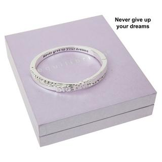 Never Give Up On Your Dreams Message Silver Plated Bangle Boxed By Equilibrium Thumbnail 1
