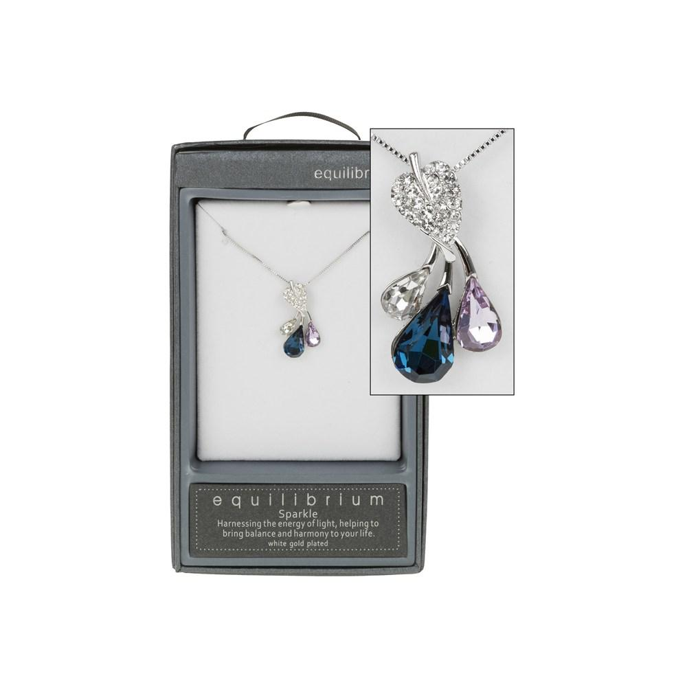 Leaf Crystal Diamante Silver Plated Necklace Boxed By Equilibrium