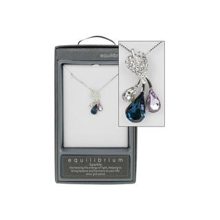 Leaf Crystal Diamante Silver Plated Necklace Boxed By Equilibrium Thumbnail 1