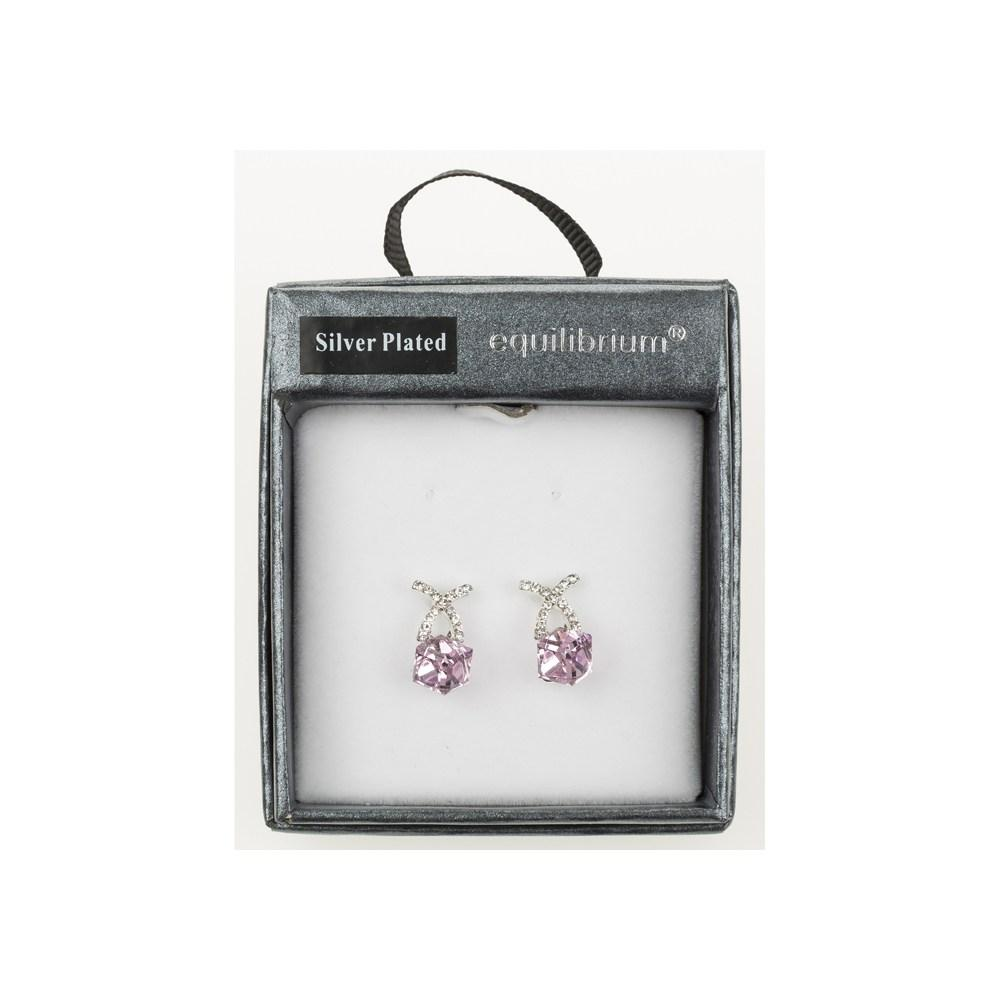 Crystal Cube Pink Earrings Gift Boxed Silver Plated By Equilibrium