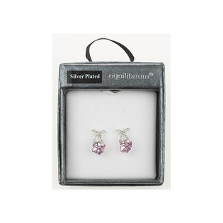 Crystal Cube Pink Earrings Gift Boxed Silver Plated By Equilibrium Thumbnail 1