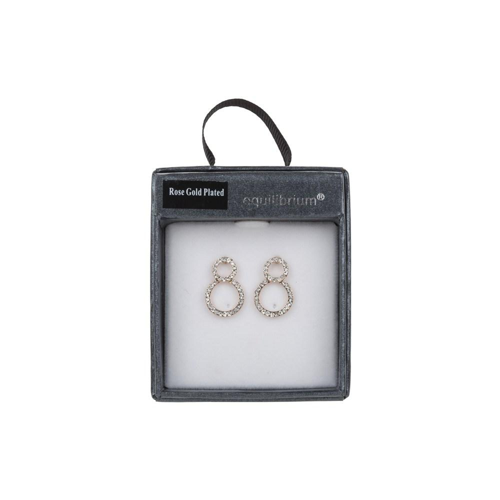 Figure Eight Diamante Earrings Gift Boxed Rose Gold Plated By Equilibrium