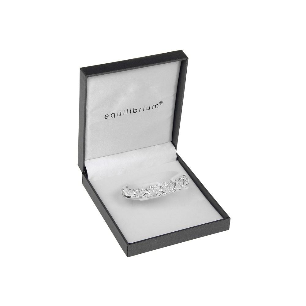 Clear Hinged Heart Design Loop Silver Plated Bangle Boxed By Equilibrium