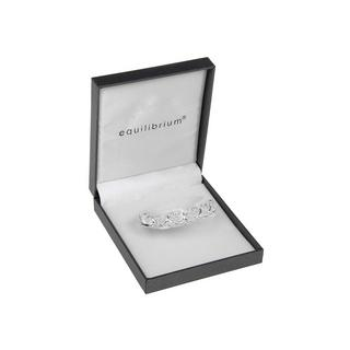 Clear Hinged Heart Design Loop Silver Plated Bangle Boxed By Equilibrium Thumbnail 1