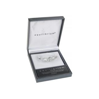 Teardrop Silver Plated Bangle With Clear Jewel Bracelet Boxed By Equilibrium Thumbnail 1