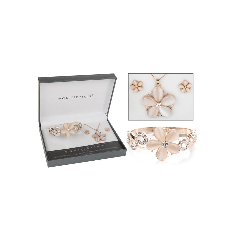 Rose Gold Plated Flower Swirl Bangle Earring Necklace Bracelet Boxed By Equilium