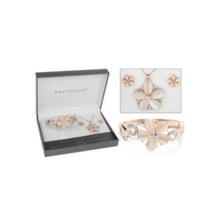 Rose Gold Plated Flower Swirl Bangle Earring Necklace Bracelet Boxed By Equilium Thumbnail 1