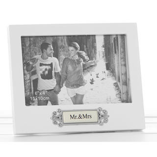 """Loved Ones Mr & Mrs Sentiment White Picture Photo Frame - 6"""" X 4"""" - Perfect Gift Thumbnail 1"""